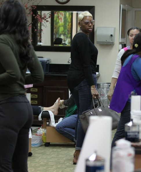 """The Real Housewives of Atlanta"" star Nene Leakes visits a nail salon on February 27, 2013 in Beverly Hills, California."