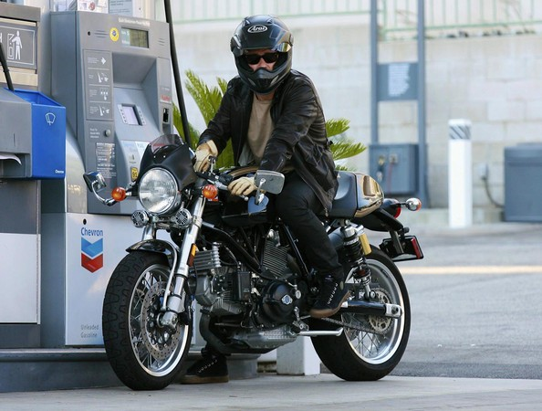 Orlando Bloom Getting Gas For His Motorcycle