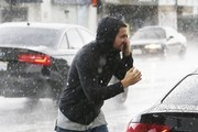Patrick Schwarzenegger & Miley Cyrus Stop For Lunch In The Rain