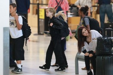 Pax Jolie-pitt Brad Pitt and Angelina Jolie Departing Los Angeles With Their Kids