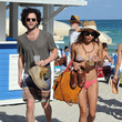 Penn Badgley and Zoe Kravitz in South Beach
