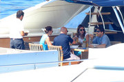 Italian entrepreneur Pier Silvio Berlusconi and his wife, Silvia Toffanin, along with their baby Lorenzo Berlusconi were seen Yachting in the South of France on June 17, 2012.