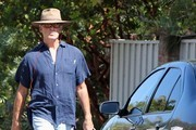 Pierce Brosnan Out Walking His Dog In Malibu