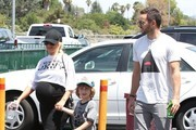 A very pregnant Christina Aguilera and her fiance Matt Rutler take her son, Max Bratman, out to mini golf in Studio City, California on July 12, 2014. Christina looks like she is ready to pop and her son seems to be loving the idea of being a big brother as he is seen with his hand over mommy's belly.