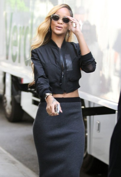 Singer Rihanna filming a Budweiser commercial in New York City, New York on May 15, 2013.
