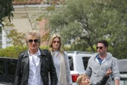 Rod Stewart spotted out with his family at a Starbucks in Bel Air, California on April 8, 2017. The legendary musician was accompanied by his wife Penny Lancaster, and sons Sean and Aiden. Lancaster was seen playing peek a boo with Aiden through a window.