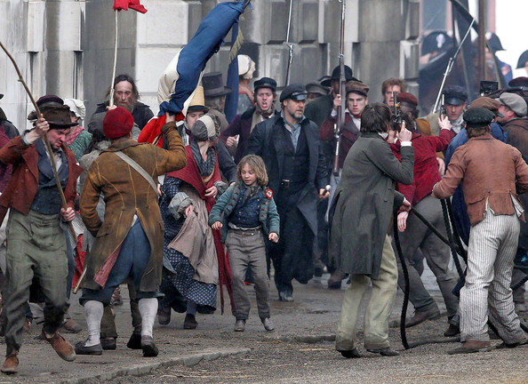 "Exclusive: Actors Russell Crowe and Eddie Redmayne film the beginning of the French Revolution for their latest movie ""Les Miserables"" in Greenwich, England, UK on April 12, 2012."