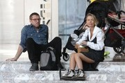 Couple Sam Worthington and Lara Bingle are spotted out taking their son Rocket to the World Trade Center in New York City, New York on April 17, 2016. The family sat down on the steps and enjoyed a couple cupcakes.