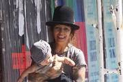 Sara Gilbert & Linda Perry Out For Lunch With Their Son Rhodes