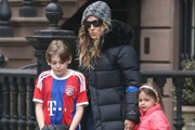 Birthday girl Sarah Jessica Parker steps out with her kids on her 50th birthday on March 25, 2015 in New York City, New York.