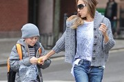 'Sex And The City' actress Sarah Jessica Parker and her husband Matthew Broderick take their son James and their twins Marion & Tabitha to school in New York City, New York on April 29, 2013.