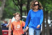 Sarah Jessica Parker pulls double duty as she walks her kids to school on May 22, 2013 in New York City, New York.