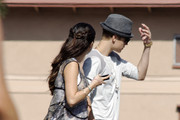 "Justin Bieber visits Selena Gomez on the set of ""Feed the Dog"" in Los Angeles, California on August 3, 2012."