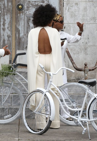 Singer Solange Knowles weds Alan Ferguson in front of friends and family in New Orleans, Louisiana on November 16, 2014. The pair enjoyed a bike ride instead of a limo ride after the wedding.<br /> <br /> Pictured: Solange Knowles