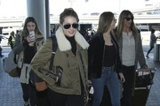 The Stallone daughters are seen departing from LAX with their mom Jennifer Flavin on January 11, 2016.