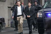 """Stars Anna Torv, Seth Gabel and Maximino Arciniega film a sniper attack on a prisoner escort operation on the set of """"Fringe"""" on February 8, 2012 in Vancouver, Canada."""