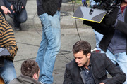 "Joshua Jackson, Seth Gabel and Anna Torv pictured filming a stunt on the set of ""Fringe"" in Vancouver, Canada."