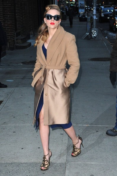 Celebrities making an appearance on the 'Late Show With David Letterman' in New York City, New York on January 8, 2014.<br /> <br /> Pictured: Scarlett Johansson