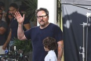 Stars the on set of 'Chef' filming in Miami, Florida on August 12, 2013.<br /> Pictured: Jon Favreau, Emjay Anthony