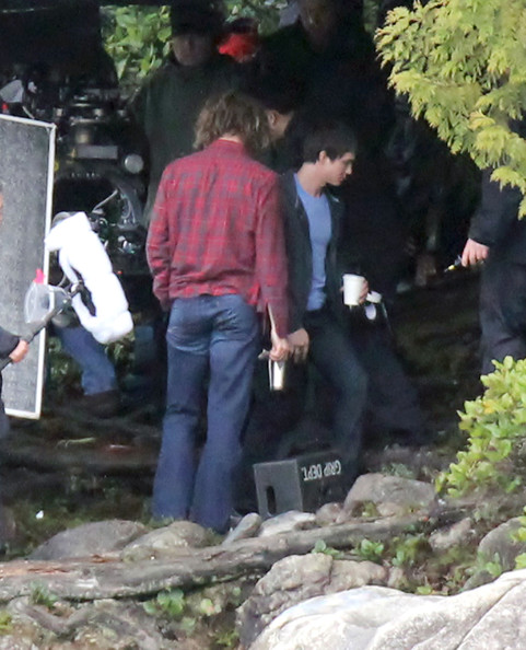 """Exclusive... Stars Logan Lerman and Douglas Smith film a scene for """"Percy Jackson: Sea of Monsters"""" on location in Vancouver, Canada on April 16, 2012. This film is the sequel to """"Percy Jackson & the Olympians: The Lightning Thief."""" These first pictures also show a potential spoiler as """"Community"""" star Yvette Nicole Brown gets some creature makeup applied."""