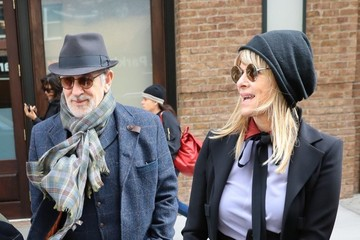 Steven Spielberg Steven Spielberg and Kate Capshaw Walk Their Dog in NYC