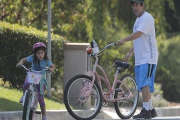 Sunny Sandler Adam Sandler and Daughters Ride Bikes in Pacific Palisades
