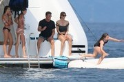 Actor Sylvester Stallone, his wife Jennifer Flavin and their three girls, Sophia, Sistine, and Scarlet enjoy their vacation on aboard yacht in St Jean Cap Ferrat, France on July 26, 2014. The family was having a great time jet skiing and Sylvester and Jennifer were having tons of fun trying to push each other off the yacht.<br /> <br /> Pictured: Sylvester Stallone, Jennifer Flavin, Sophia Stallone, Sistine Stallone, Scarlet Stallone