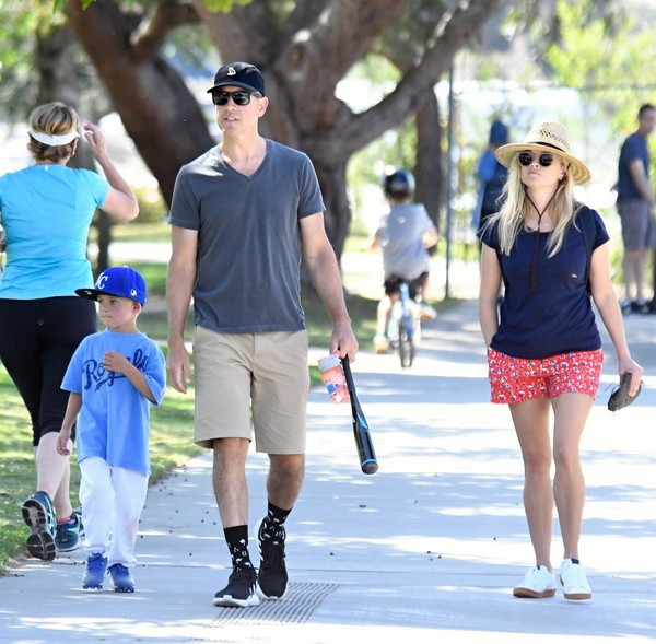 Reese Witherspoon and Jim Toth Watch Their Son's Baseball Game