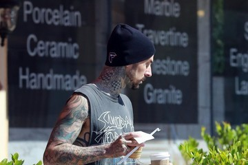 Travis Barker Travis Barker Gets Coffee From a Convenience Store in Los Angeles