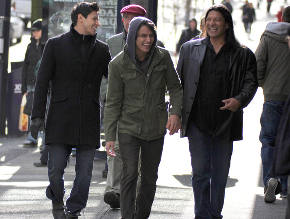 'Twilight' actors Alex Meraz, Bronson Pelletier, Kiowa Gordon, Tyson Houseman and Gil Birmingham leaving the Sutton Place Hotel in Vancouver, Canada. The actors posed with fans before heading out to check out the city.