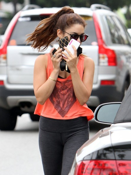 'Spring Breakers' actress Vanessa Hudgens hides her face after a workout on June 3, 2013 in Studio City, California.
