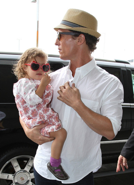 Matthew McConaughey Departs LAX with His Family  Vida McConaughey Matthew Mcconaughey Daughter