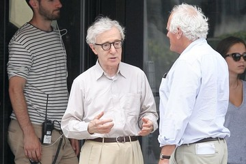 Woody Allen Emma Stone and Joaquin Phoenix on Set
