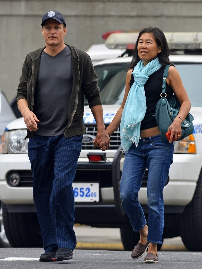 woody harrelson out with his wife in nyc zimbio
