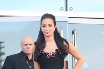 Tula Contostavlos X Factor judges leave the Lowry Hotel in Manchester 1