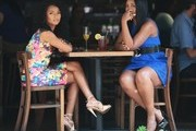 Reality stars Yandy Smith and Tara Wallace film some scenes for 'Love & Hip Hop: New York' on July 21, 2014 in New York City, New York.