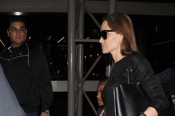 Zahara Jolie-Pitt Brad Pitt & Angelina Jolie Catch A Flight Out Of LAX Airport