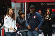 Freestyle skier Ashley Caldwell and singer Darius Rucker share a laugh during the 100 Days Out 2018 PyeongChang Winter Olympics Celebration - Team USA in Times Square on November 1, 2017 in New York City.