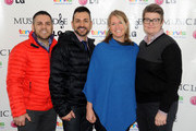 (L-R) Jeff Zarrillo,Paul Katami, Sandy Stier and Kris Perry attend The 10th Anniversary LG Music Lodge At Sundance With Elio Motors And Tervis on January 19, 2014 in Park City, Utah.