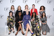 (L-R) Front Row, Hadeel Mustafa Anabtawi, Anita Hill, Katy Perry, Susan Burton, Nadia Murad; Back Row, Allison Williams, Gloria Steinem, Arianna Huffington, Julia Stiles, Diane von Furstenberg attend 10th Annual DVF Awards at Brooklyn Museum on April 11, 2019 in New York City.