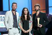 Charles Kelley, Hillary Scott, and Dave Haywood of Lady Antebellum speak onstage during the 11th Annual ACM Honors at the Ryman Auditorium on August 23, 2017 in Nashville, Tennessee.
