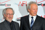 (L to R) Directors Steven Spielberg and Clint Eastwood arrive at the 12th Annual AFI Awards held at the Four Seasons Hotel Los Angeles at Beverly Hills on January 13, 2012 in Beverly Hills, California.