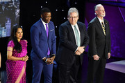 (L-R) Everyday Heroes Shanthi Viswanathan, James Shaw, Dr. Jeff Cohen, Rabbi Jeffrey Myers pose onstage during the 12th Annual CNN Heroes: An All-Star Tribute  at American Museum of Natural History on December 9, 2018 in New York City.
