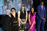 (L-R) Everyday Heroes Ashley Kurth, Shanthi Viswanathan, James Shaw, Dr. Jeff Cohen, Rabbi Jeffrey Myers pose onstage during the 12th Annual CNN Heroes: An All-Star Tribute  at American Museum of Natural History on December 9, 2018 in New York City.