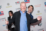 Jim Gaffigan (C), Caroline Hirsch (L), and Jimmy Carr (R) attend the 12th Annual Stand Up For Heroes at The Hulu Theater at Madison Square Garden on November 5, 2018 in New York City.