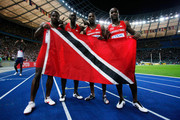 Trinidad and Tobago celebrate silver in the men's 4x100 Metres Relay Final during day eight of the 12th IAAF World Athletics Championships at the Olympic Stadium on August 22, 2009 in Berlin, Germany.