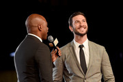 TV personality Kevin Frazier (L) and actor Pablo Schreiber attend the Dallas Premiere of the Paramount Pictures film '13 Hours: The Secret Soldiers of Benghazi' at the AT&T Dallas Cowboys Stadium on January 12, 2016 in Arlington, Texas.