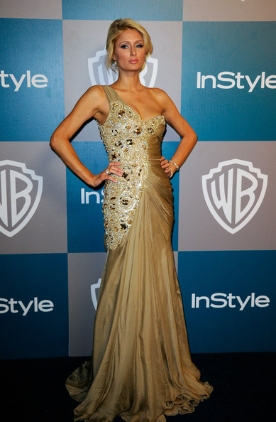 TV personality Paris Hilton arrives at 13th Annual Warner Bros. and InStyle Golden Globe Awards After Party at The Beverly Hilton hotel on January 15, 2012 in Beverly Hills, California.