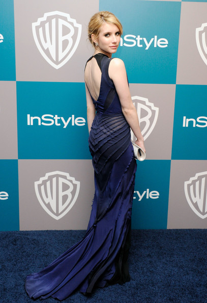 Actress Emma Roberts arrives at 13th Annual Warner Bros. And InStyle Golden Globe Awards After Party at The Beverly Hilton hotel on January 15, 2012 in Beverly Hills, California.