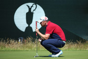 John Singleton of England lines up a putt during the first round of The 143rd Open Championship at Royal Liverpool on July 17, 2014 in Hoylake, England.